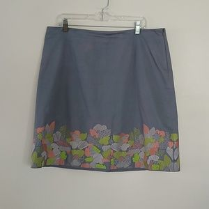 Boden embroidered gray skirt EUC 14